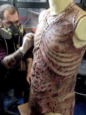 """Silicone body-suit for """"Frankenstein"""" by Àlex Ollé from La Fura dels Baus. La Monnaie/ De Munt, Belgium 2019"""