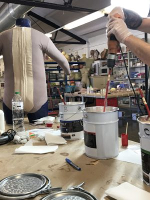 Lab working silicone fat body-suit