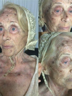 """Disease make-up over Montserrat Carulla for the film """"Laia"""" by Lluís Danés. 2015"""